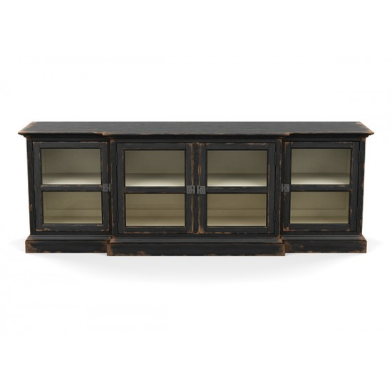 Farragut Media Cabinet, Rustic Black with White Interior